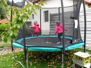 Happy kids in trampoline